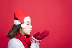 Christmas woman Blowing the Snow. Young Christmas woman Blowing the Snow Stock Photos