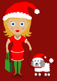 Christmas woman cartoon  Stock Photo