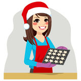 Christmas Woman Cooking Cookies Royalty Free Stock Images
