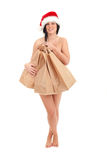 Christmas woman covering by bags Stock Photography
