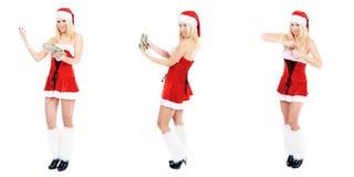 Christmas woman and dollars Stock Image