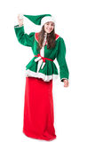 Christmas woman elf, isolated on white background Stock Images
