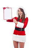 Christmas woman with an empty letter Royalty Free Stock Images