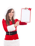 Christmas woman with an empty letter Stock Photos