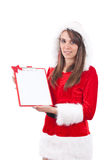 Christmas woman with an empty letter Stock Image