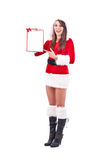Christmas woman with an empty letter. Santa Claus at Christmas with an empty letter to be desired Royalty Free Stock Photos