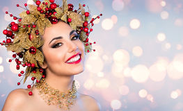 Christmas Woman - Fashion Model With Golden And Red Hairstyle Royalty Free Stock Photos