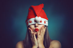 Christmas  woman with funny expression Royalty Free Stock Image