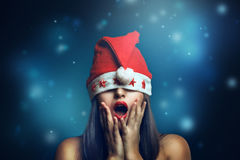 Christmas woman with funny expression Stock Images