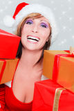 Christmas woman gift Royalty Free Stock Photos