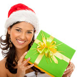 Christmas woman with a gift Royalty Free Stock Photography