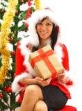 Christmas woman with gift Stock Photo