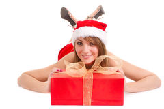 Christmas woman with gift Stock Photo