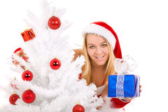 Christmas woman with gift Royalty Free Stock Images