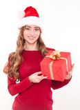 Christmas woman with gift Stock Image