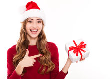 Christmas woman with gift Royalty Free Stock Photos