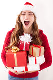 Christmas woman with gift Royalty Free Stock Image