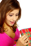 Christmas woman with gift box Royalty Free Stock Images