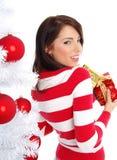 Christmas woman with gift box. stock photos