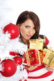 Christmas woman with gift box. Royalty Free Stock Photos