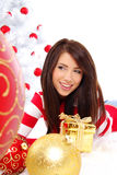 Christmas woman with gift box. Royalty Free Stock Image