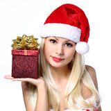 Christmas Woman with Gift Box. Happy Beautiful Blonde Girl Royalty Free Stock Images