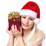 Christmas Woman with Gift Box. Happy Beautiful Blonde Royalty Free Stock Photography