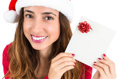 Christmas woman with a gift card Royalty Free Stock Photography