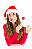 Christmas woman with a gift card Stock Image