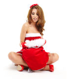 Christmas woman with gift Stock Images