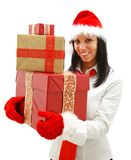 Christmas woman with gifts Royalty Free Stock Images