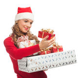 Christmas woman with gifts Stock Photo