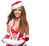 Christmas woman with gifts Stock Images