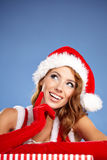 Christmas woman with gifts box Royalty Free Stock Photo