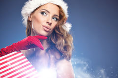 Christmas woman with gifts box Stock Images