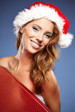 Christmas woman with gifts box Stock Photography