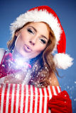 Christmas woman with gifts box Royalty Free Stock Images