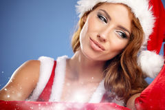 Christmas woman with gifts box Stock Photos