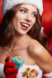 Christmas woman with gifts box Royalty Free Stock Photography