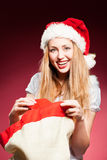 Christmas woman with gifts box Royalty Free Stock Photos