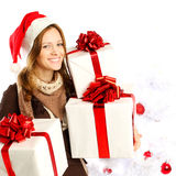 Christmas woman with gifts Royalty Free Stock Photography