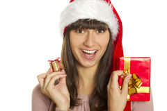 Christmas woman with gifts smiling Stock Images