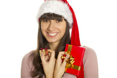 Christmas woman with gifts smiling Royalty Free Stock Image