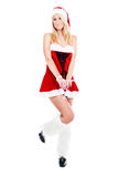 Christmas woman with glass of champagne Royalty Free Stock Photography