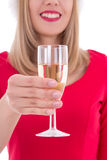 Christmas woman with glass of champagne isolated on white Stock Image