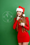 Christmas woman   with glass of champagne. Royalty Free Stock Images