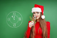 Christmas woman   with glass of champagne. Stock Images