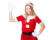 Christmas woman with hand raise up Stock Image