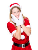 Christmas woman with hand touch on face Royalty Free Stock Image