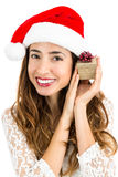 Christmas woman happy with her gift Stock Images